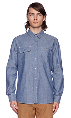 Huf Chambray Work Shirt in Blue