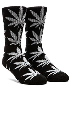 Huf Glow In The Dark Plantlife Crew Socks in Black Glow, Huf Glow In The Dark Plantlife Crew Socks in Black Glow