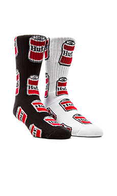 Huf Beer Crew Socks in Black, Huf Beer Crew Socks in White