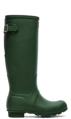 Hunter Original Back Adjustable Rain Boot in Hunter Green