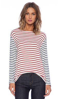 Hye Park and Lune Neptune Long Sleeve Top in Red & Navy Stripe