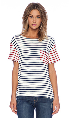 Hye Park and Lune Pluto Short Sleeve Top in Navy & Red Stripe