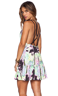 ISLA & LULU Gifted Goddess Mini Dress in Palms Print