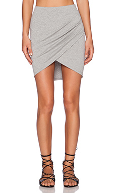 ISLA & LULU That's a Wrap Mini Skirt in Grey Marle