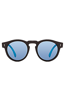 illesteva Leonard in Matte Black & Blue Mirrored