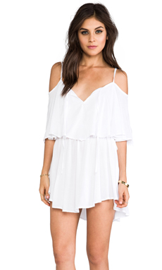 Indah Zhina Rayon Chiffon Flounce Mimi Dress in White