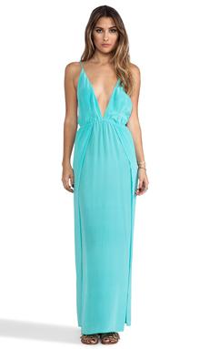 Indah River Silk Crepe Split Front Wrap Side Maxi Dress With Adjustable Tie Back in Aqua