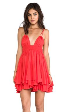 Indah Ophelia Rayon Chiffon Keyhole Adjustable Tie Top Dress with Smocked Waistline in Papaya