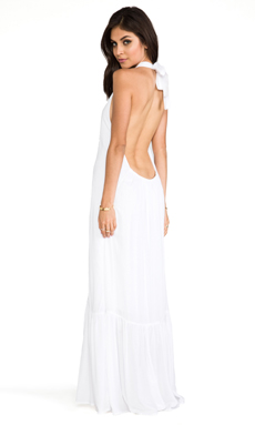 Indah Denver Rayon Chiffon Halter Dress With Flounce Detail in White