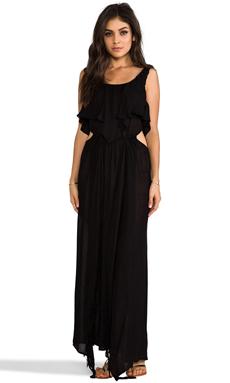 Indah Zanzibar Flounce Cut Out Maxi Dress in Black