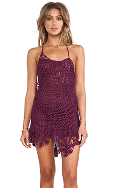Indah Sloan Web Cocktail Dress in Plum