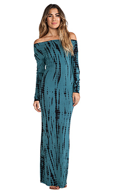 Indah Santee Long Sleeve Maxi Dress in Streak Tosca