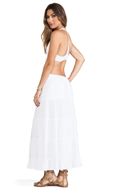 Indah Flamenco Cutaway Tank Dress in White