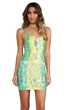 Indah Bait Fully Sequined Tank Dress in Ink Fade Aqua