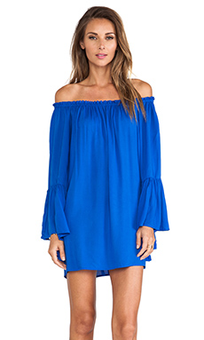 Indah Kamani Ruffle Edge Mini Dress in Cobalt