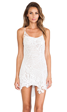 Indah Sloan Web Cocktail Dress in White