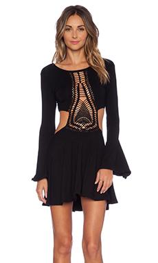 Indah Kiss Hand Crochet Bell Sleeve Dress in Black