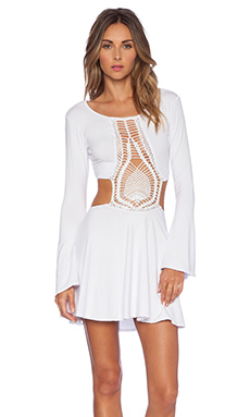 Indah Kiss Hand Crochet Bell Sleeve Dress in White