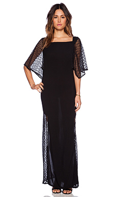 Indah Worship Snake Brocade Kaftan in Black