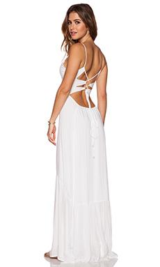 Indah Zera Ruffle Bottom Maxi Dress in White