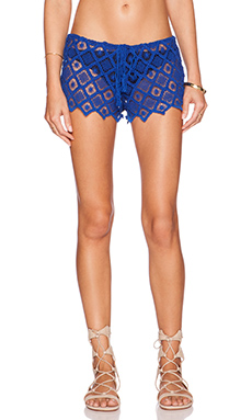 Indah Siku Brocade Drawstring Short in Blue