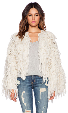 Indah Lavish Crop Bell Sleeve Fringe Jacket in Bone