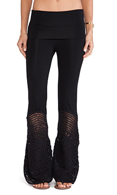 Indah Trigger Lounge Pant with Crochet Flare in Black