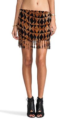 Indah Bronte Smock Fringe Mini Skirt in Black Tahiti