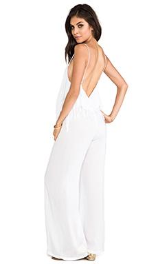 Indah Tenno Fringe Flounce Jumpsuit in White