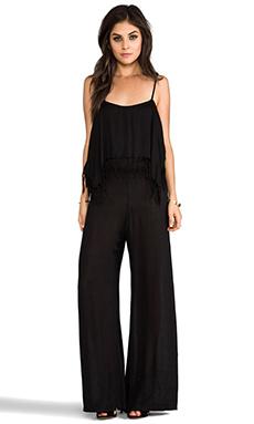 Indah Tenno Fringe Flounce Jumpsuit in Black