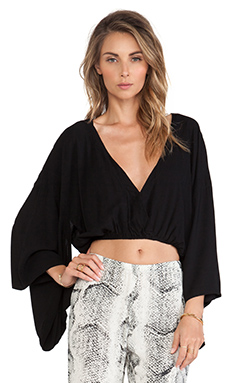 Indah Still Rayon Crepe Crop Kimono Top in Black