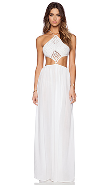 Indah Revel Hand Crochet Cut Away Maxi in White