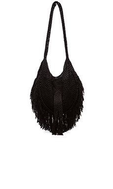 Indah Seasame Hand Crochet Fringe Bag in Black & Snake
