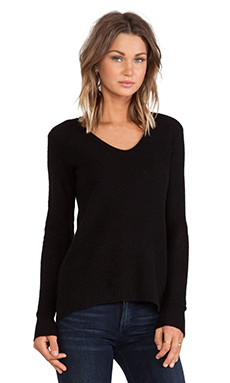 Inhabit Cashmere Lace V-Neck Sweater in Black