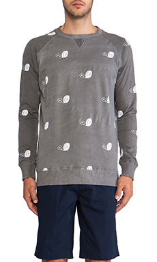 INSTED WE SMILE Nippon Tyre Sweater in White/Stone Wash Black