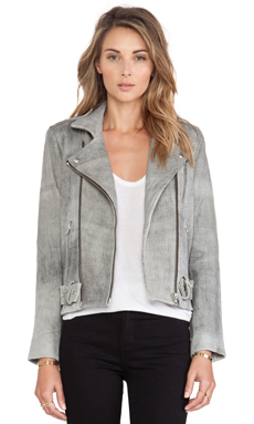 IRO Jova Leather Jacket in Grey