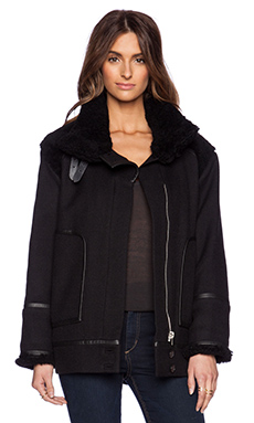 IRO Atwood Jacket with Lamb Fur in Black