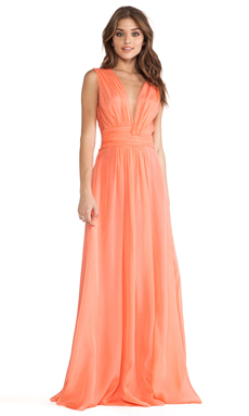 Issa Chiffon Maxi Dress in Coral