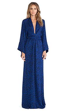 Issa Poppy Long Sleeve Wrap Maxi Dress in Blue