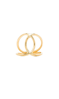 Jacquie Aiche Hammered Overlap Circles Ring in Gold