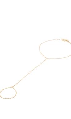 Jacquie Aiche 1cz Stone Bezel Finger Bracelet in Gold