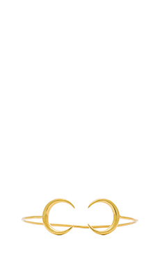 Jacquie Aiche Small Double Crescent Horn Cuff in Gold