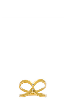 Jacquie Aiche Inward Twin V Ring in Gold