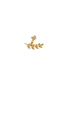 Jacquie Aiche Small Leaf Ear Jacket in Gold