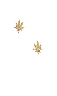 Jacquie Aiche Sweet Leaf Stud Earrings in Gold Vermeil