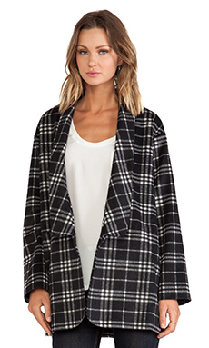 JAGGAR Venus Coat in Black & White Plaid Print