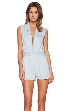 JAGGAR Daylight Denim Romper in Arctic Blue