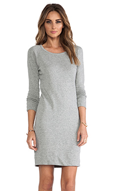 James Perse Raglan Sweatshirt Dress in Heather Grey