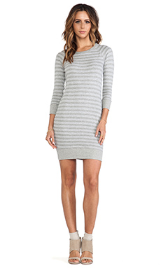 James Perse Heathered Stripe Vintage Cotton Dress in Heather Grey