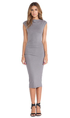 James Perse Sleeveless Tucked Dress in Quarry